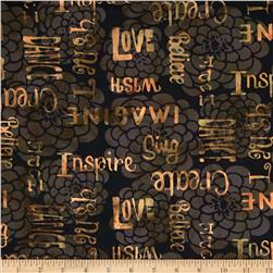 Bali Batiks Handpaints Words & Flowers Antique Black