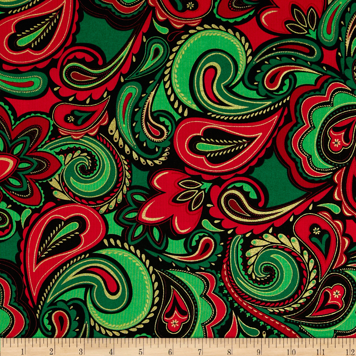 Kanvas Deck the Halls Metallic Holiday Paisley Red/Green