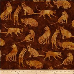 Island Batik Hound Dog Gold/Brown Leopard Fabric