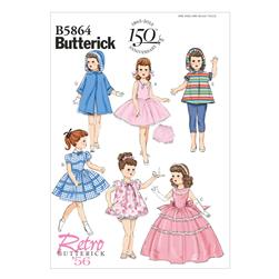 "Butterick Clothes for 18"" Doll Pattern B5864 Size OSZ"
