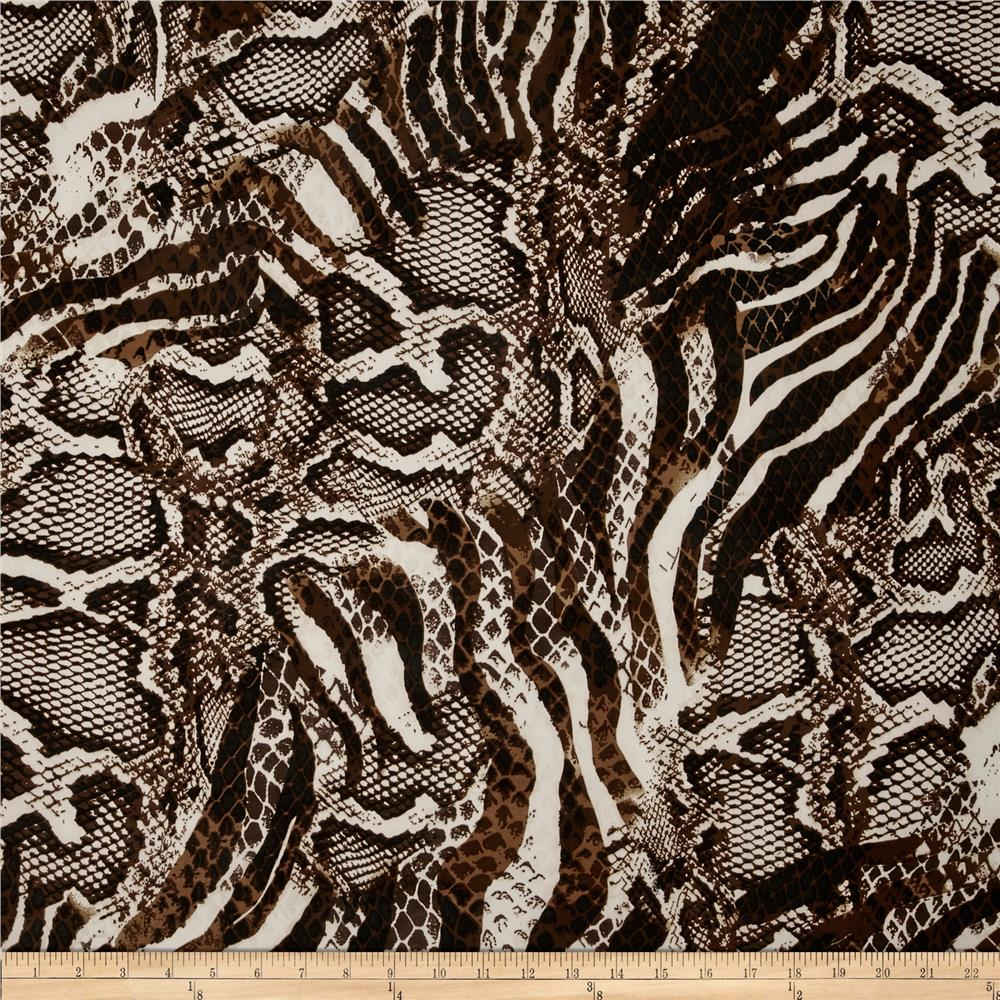 Stretch ITY Jersey Knit Animal Snakeskin Brown/Cream