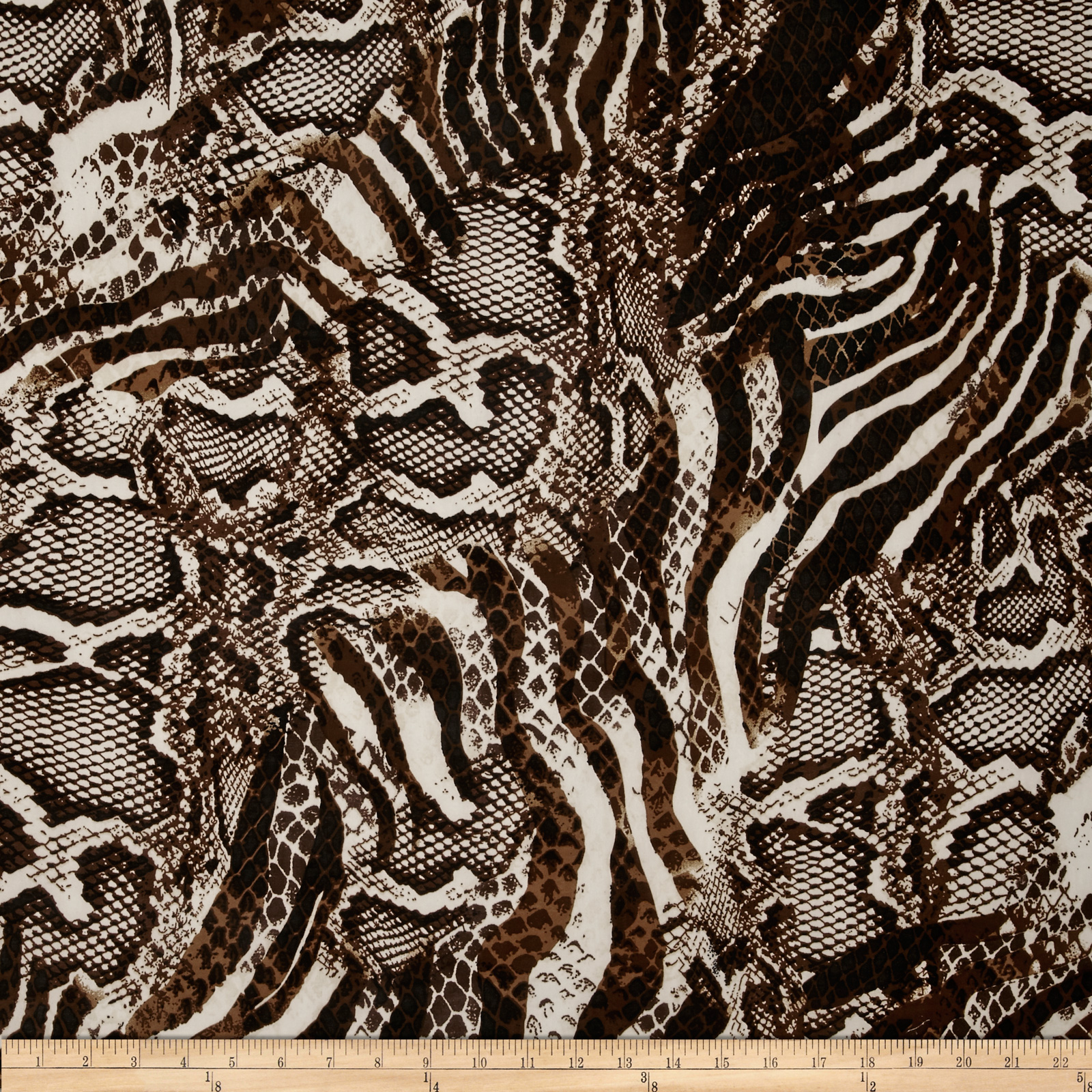Stretch ITY Jersey Knit Animal Snakeskin Brown/Cream Fabric