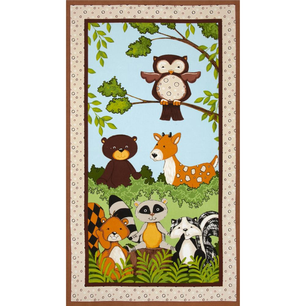 Forest Friends Flannel Panel Brown