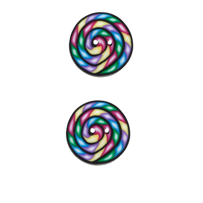Lisa Pavelka Novelty Clay Button 3/4'' Swirl Multi