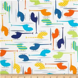 Ready Set Go Organic Helicopters Bright Fabric