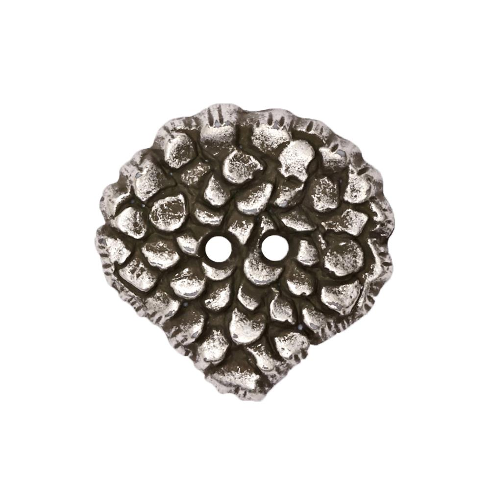 "Fashion Button 1 3/8"" Molten Antique Silver"