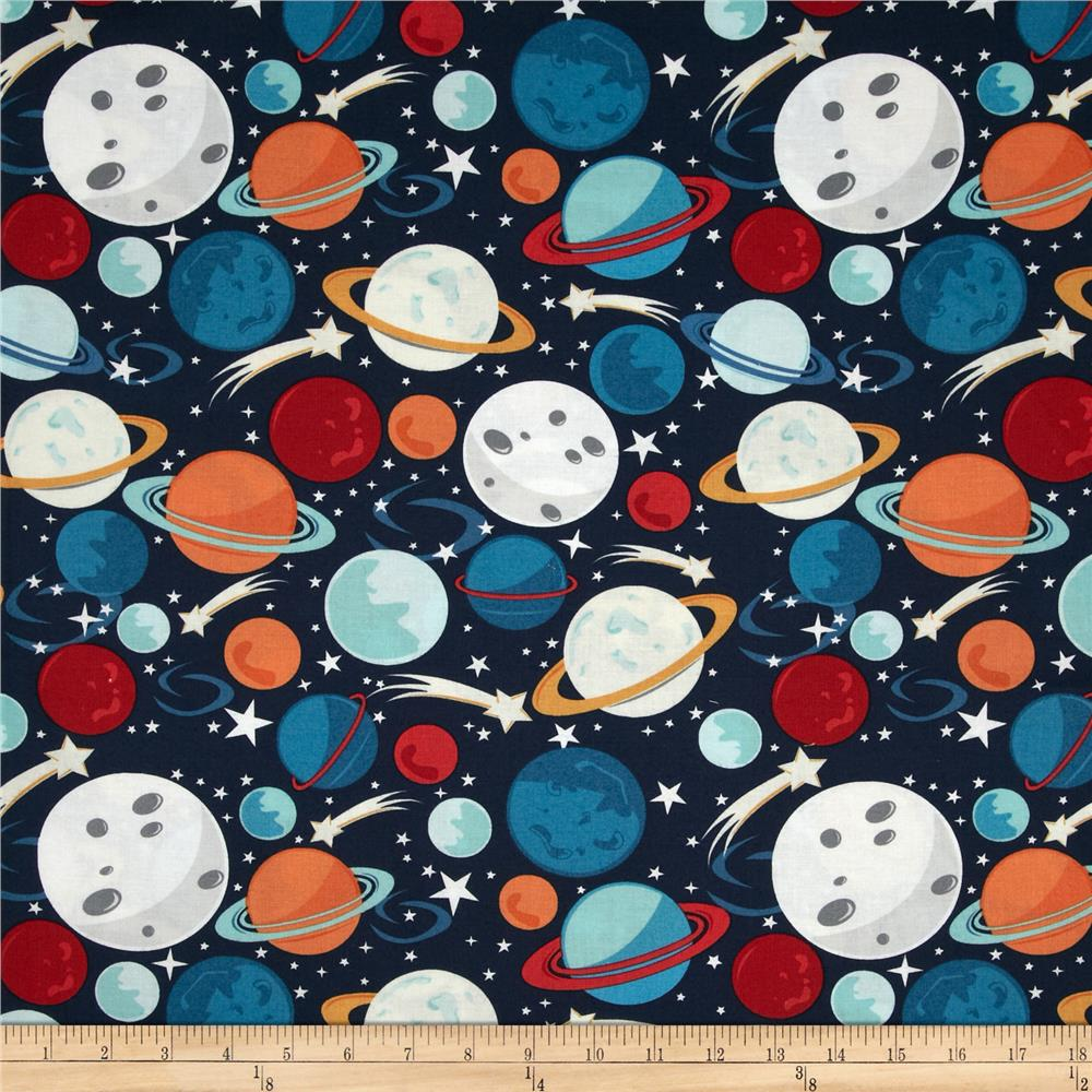 Blast off planets multi for Planet print fabric