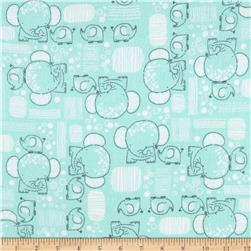 Flannel Mama & Baby Elephants Aqua