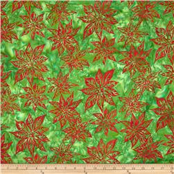 Bali Batiks Handpaints Poinsettias Strawberry