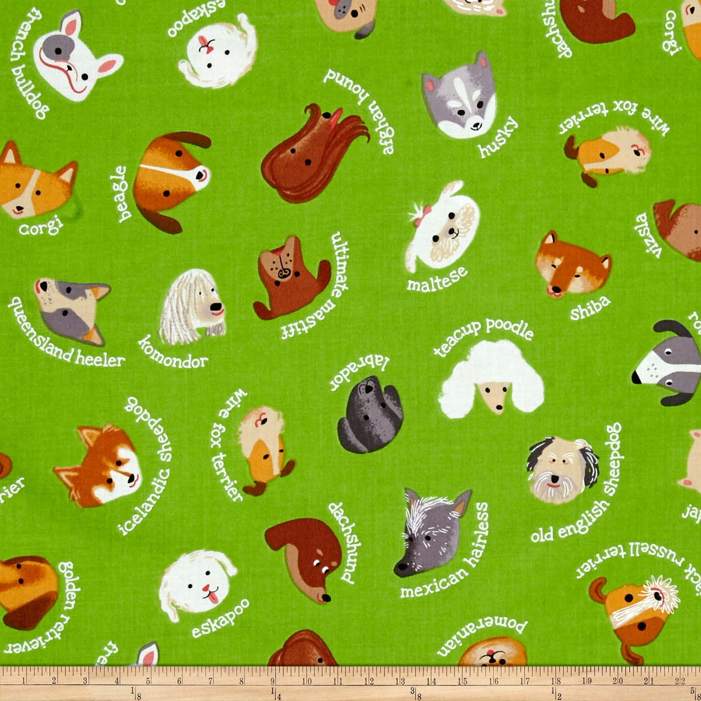 Kaufman Whiskers & Tails My Dog Green Fabric