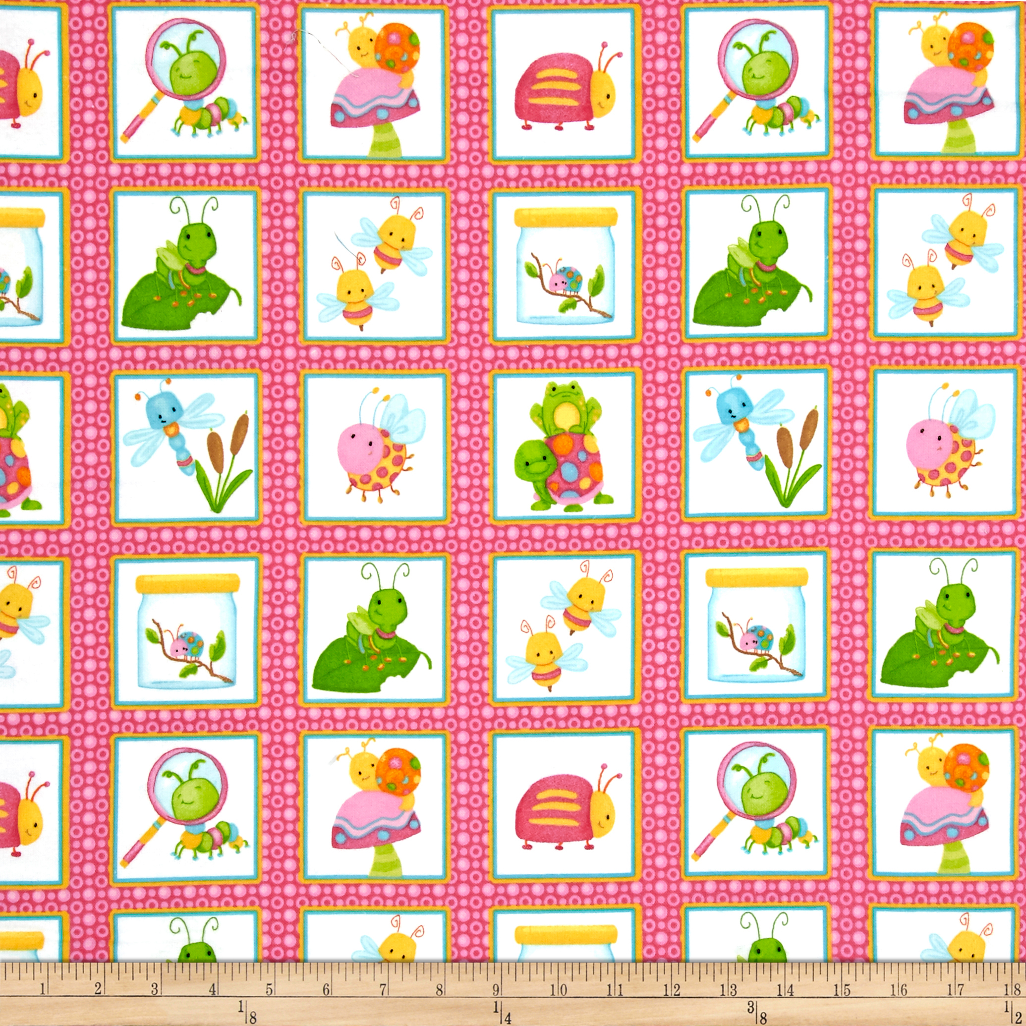 Cuddle Bugs Flannel Bugs In Squares Pink Fabric by Henry Glass in USA