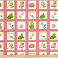 Bugs Flannel Bugs In Squares Pink