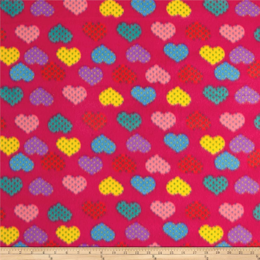 Fleece Hearts Multi Fushia