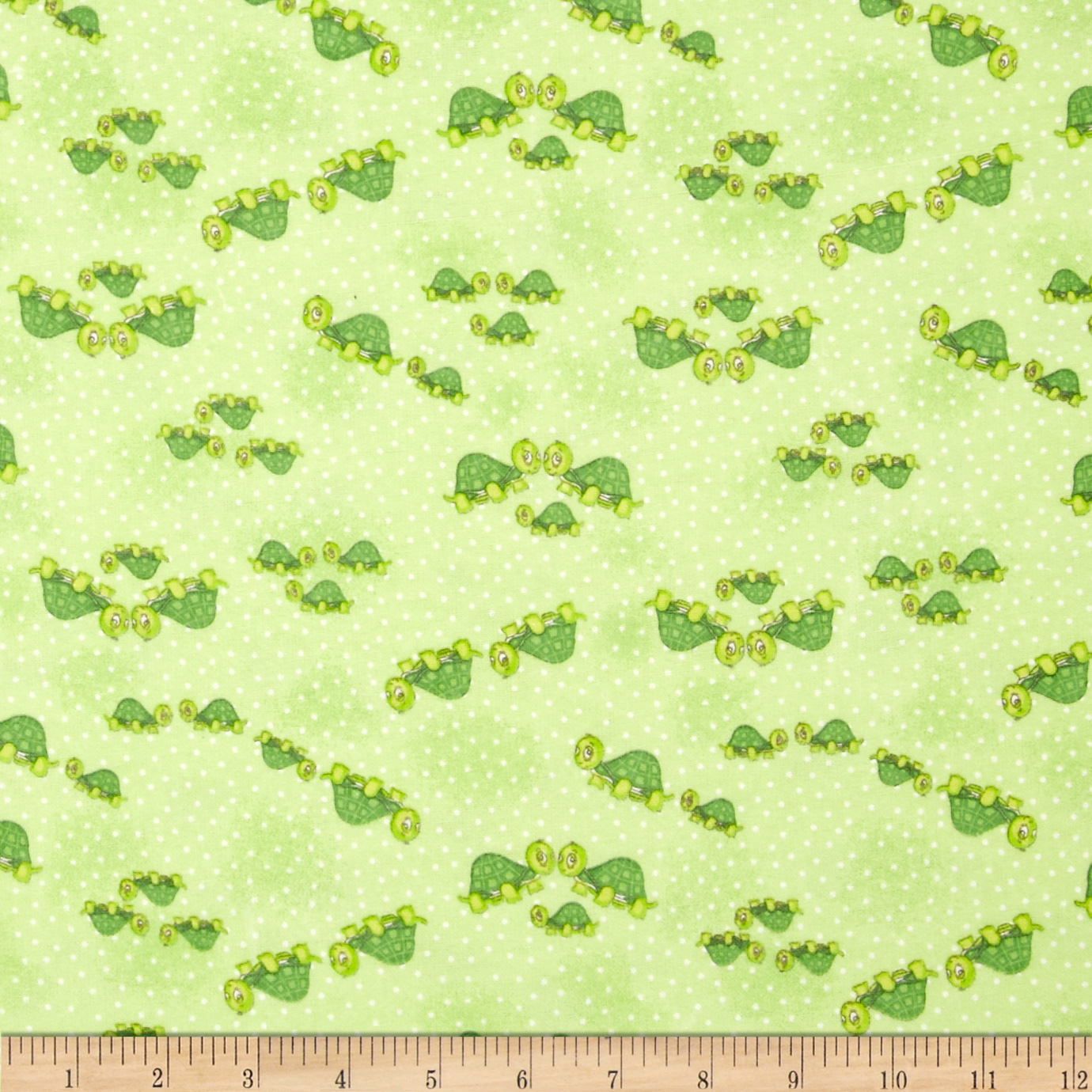 Comfy Flannel Turtle Family Green Fabric by A. E. Nathan in USA