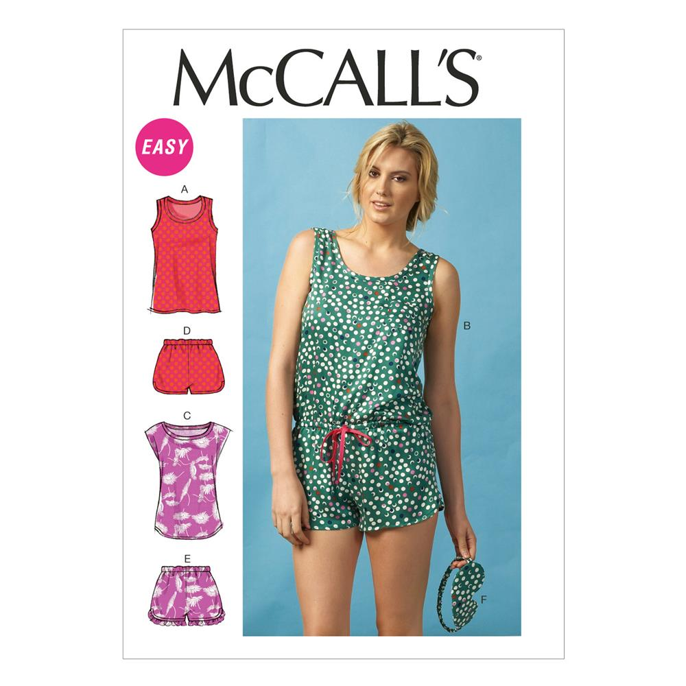 McCall's Misses' Tops, Romper, Shorts and Eye Mask Pattern M6848 Size 0Y0