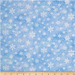 Snow Bears Metallic Silver Snowflakes Light Blue