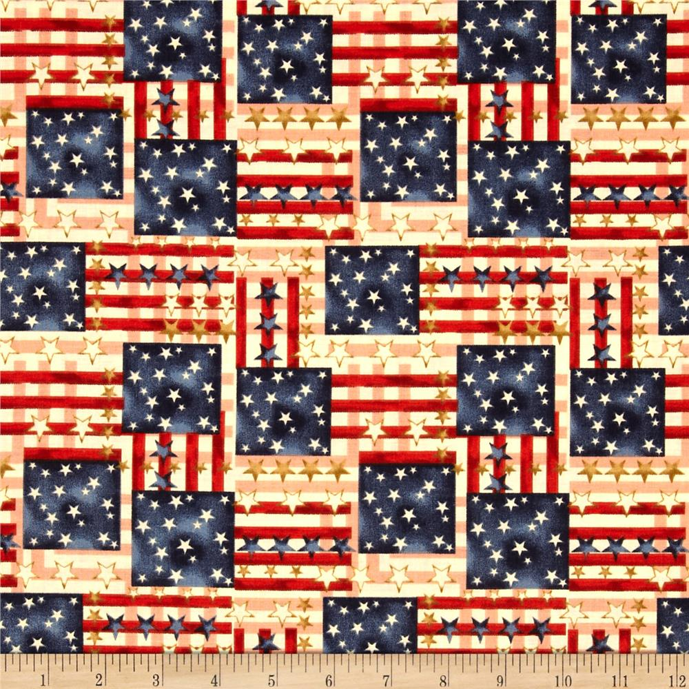 Stars & Stripes II Plaid Flags Antique/Cream