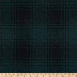 11.6 oz Wool Melton Plaid Green/Black