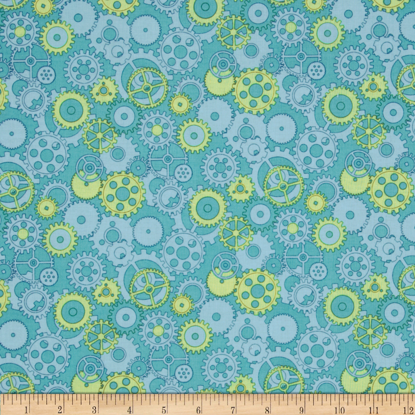 Mr. Roboto Gears Blue Fabric