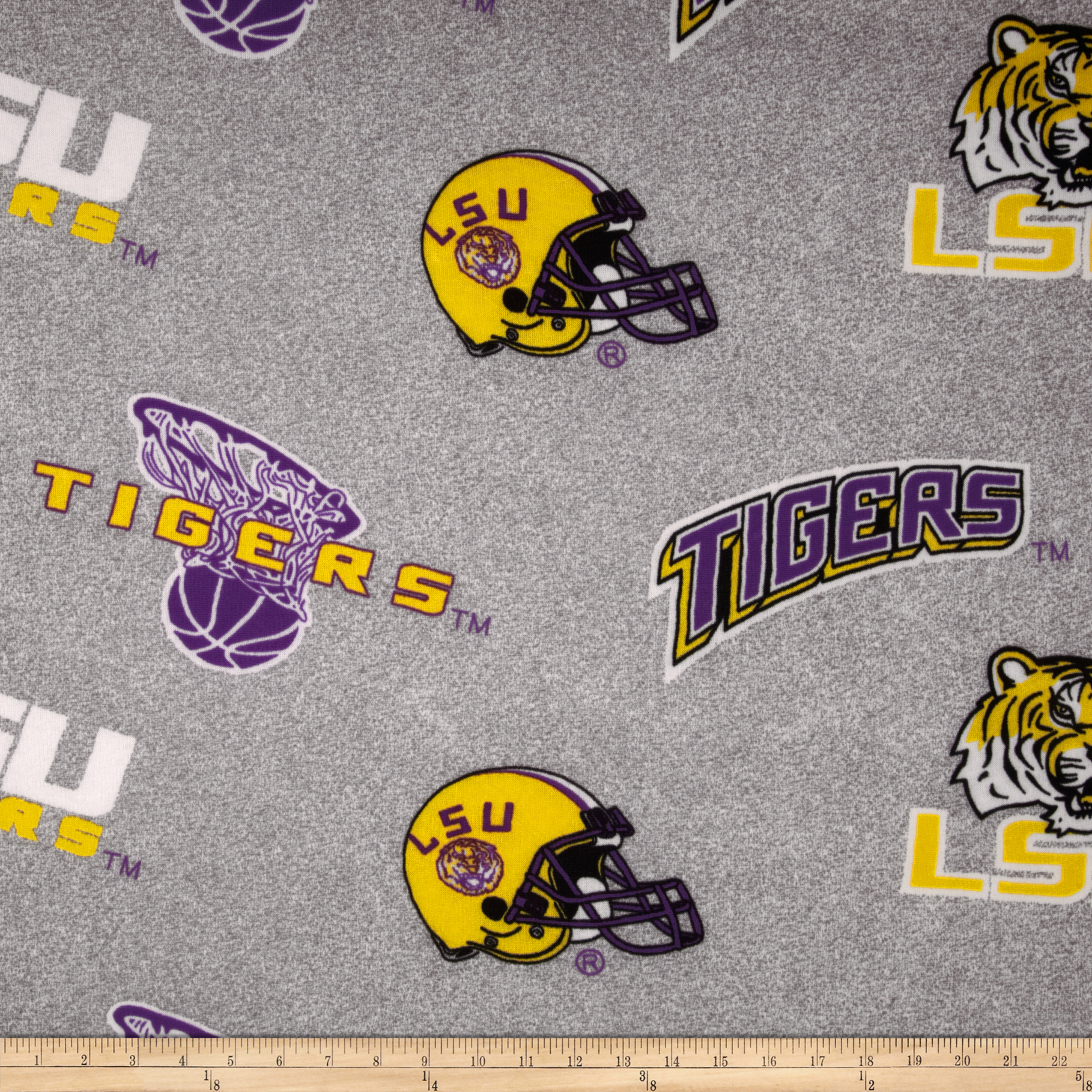 Louisiana State University Sweatshirt Fleece Grey Fabric