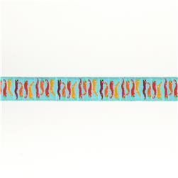 "7/8""Laura Foster Nicholson Chili Peppers on Turquoise"