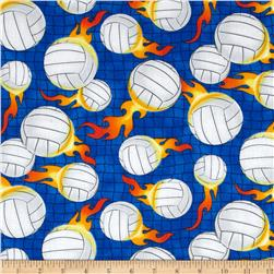 Timeless Treasures Volleyballs Blue Fabric
