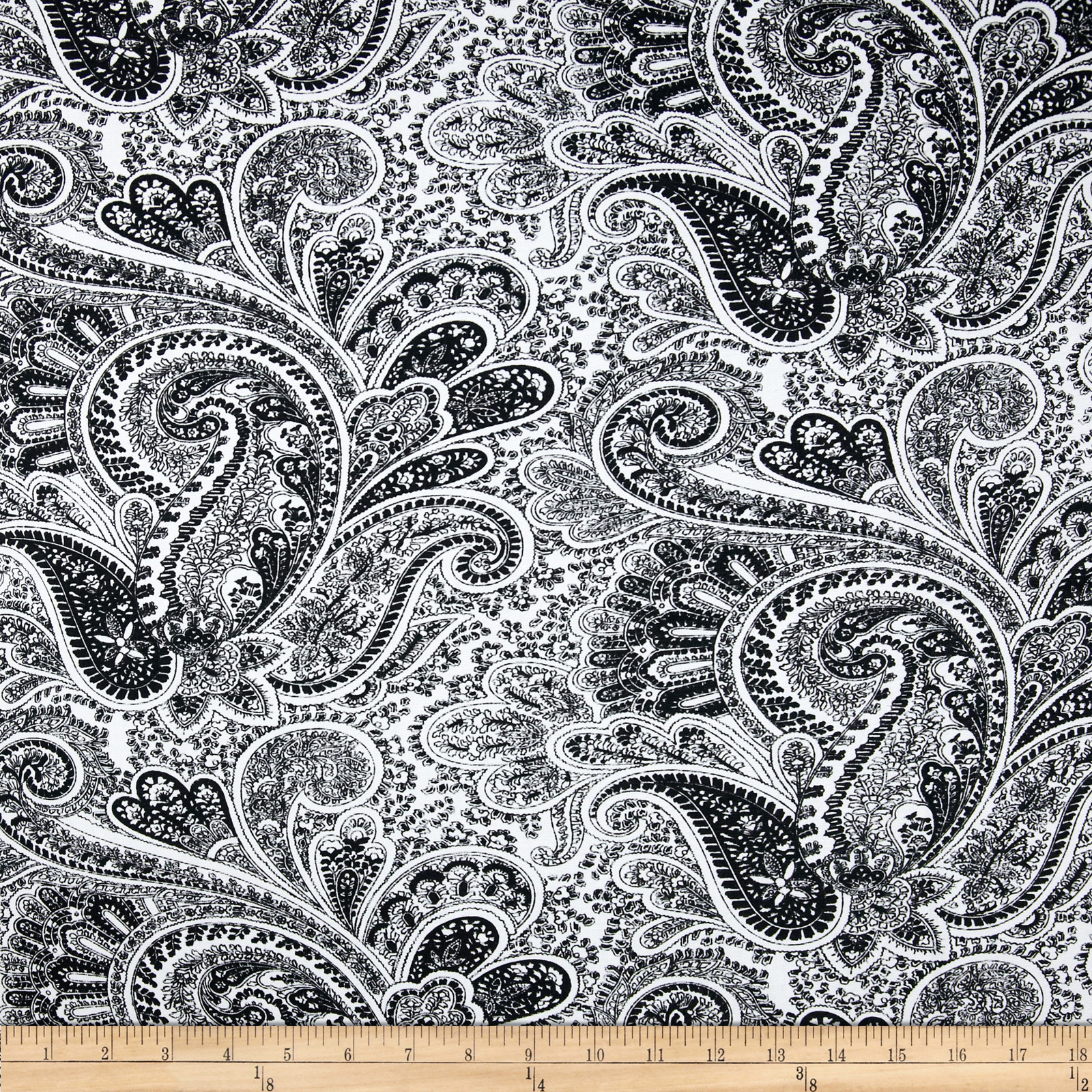 Premier Prints Paisley Black/White Fabric