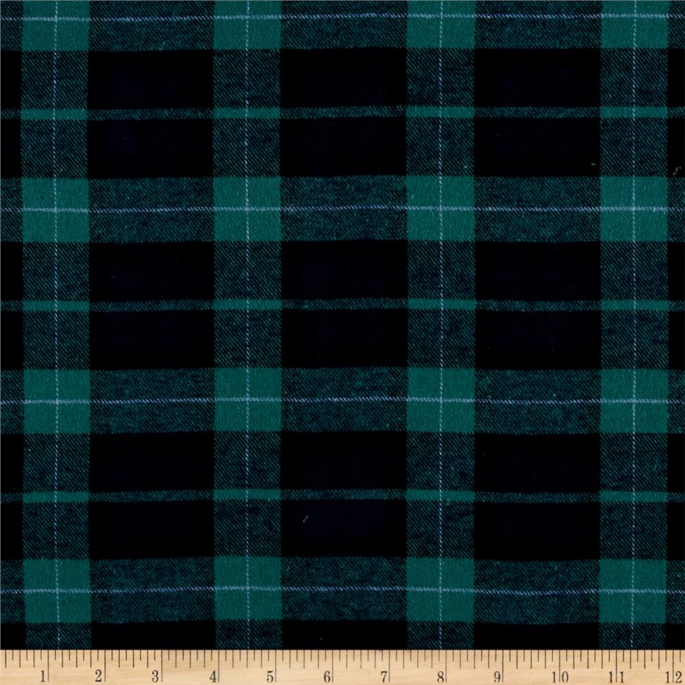 Yarn Dyed Flannel Plaid Green Navy Fabric