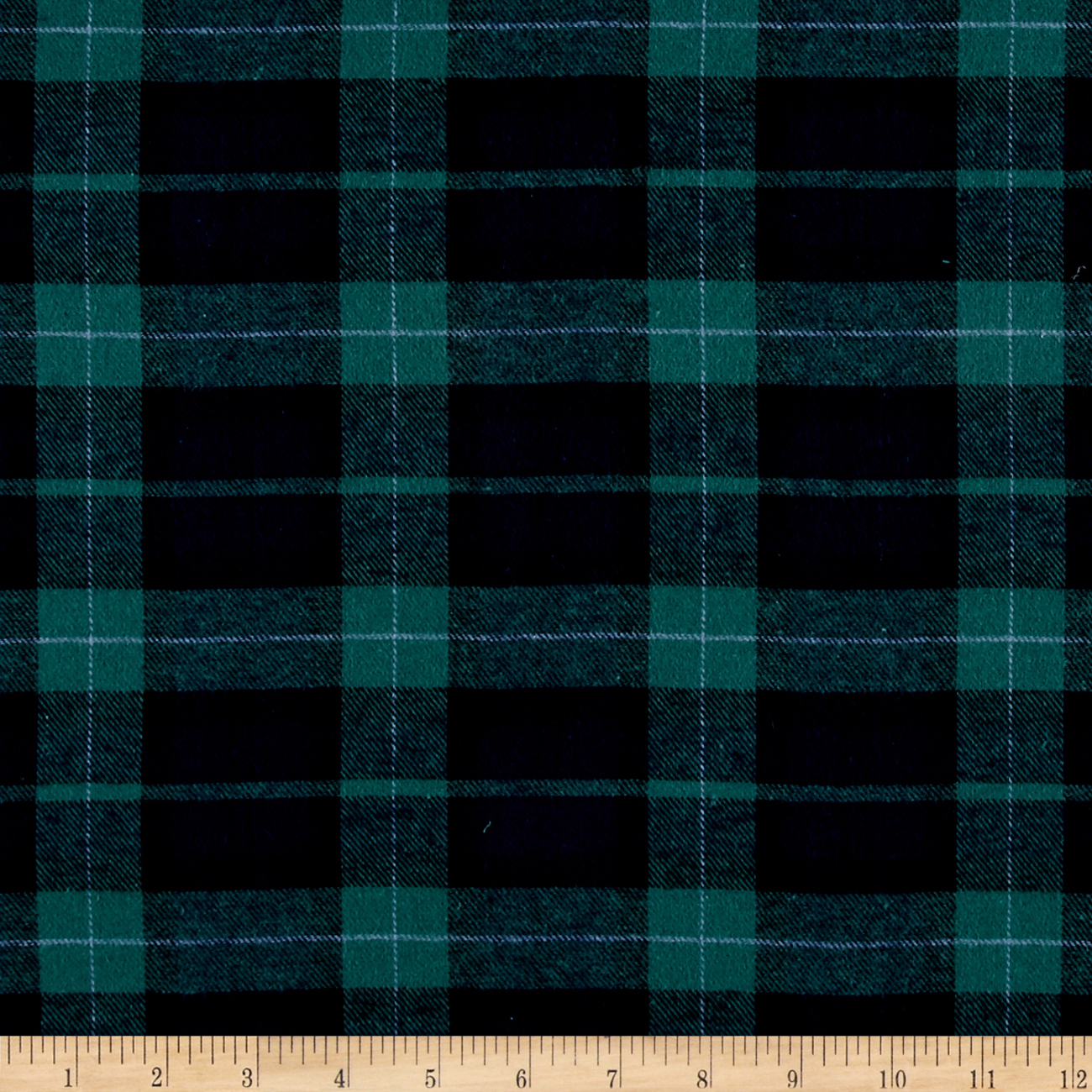 Yarn Dyed Flannel Plaid Green Navy Fabric by Richland in USA