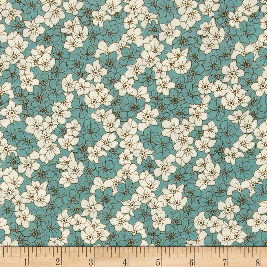 Zinnia Blue Small Packed Floral Cream/Blue