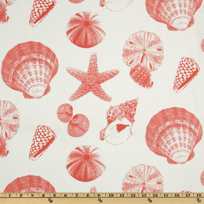 Premier Prints Shells White/Coral Fabric