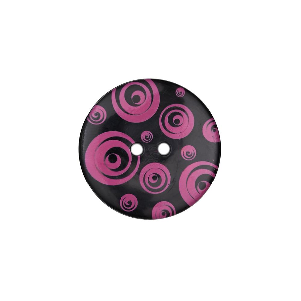 "Dill Novelty Button 1 3/8"" Swirl Fuchsia/Black"