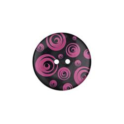 Dill Novelty Button 1 3/8'' Swirl Fuchsia/Black