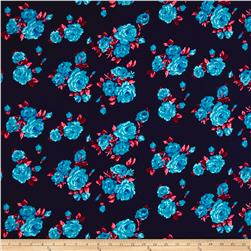 Liverpool Double Knit Print Floral Navy/Blue