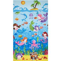 Little Mermaids Border Print Blue/Multi