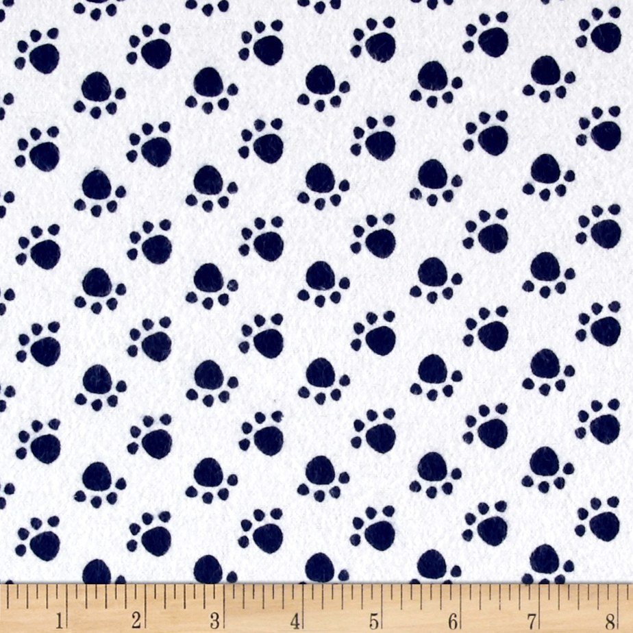Flannel Paw Print Navy Fabric