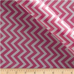 Charmeuse Satin Chevron Fuchsia/Snow Fabric