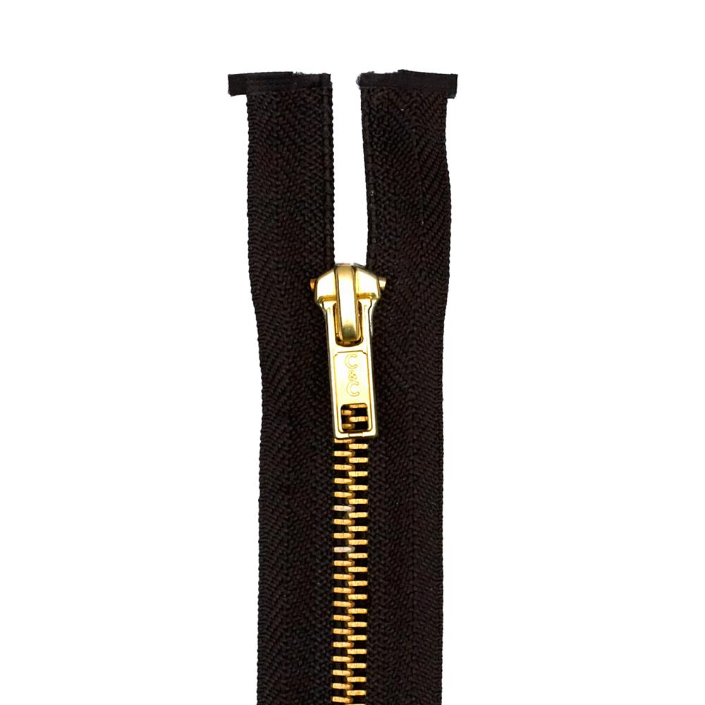 "Coats & Clark Heavy Weight Brass Separating Zipper 24"" Black"