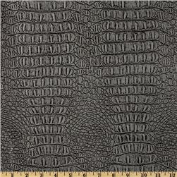 Faux Leather Gator Metallic Pewter