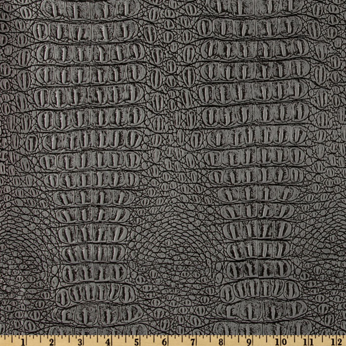 Faux Leather Gator Metallic Pewter Fabric