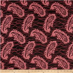 Novelty Lace Double Knit Paisley Rose Pink/Black