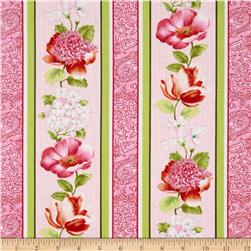 Adele Floral Stripe Pink Fabric