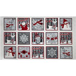 Holiday Magic Blocks Panel 24 In. White/Grey