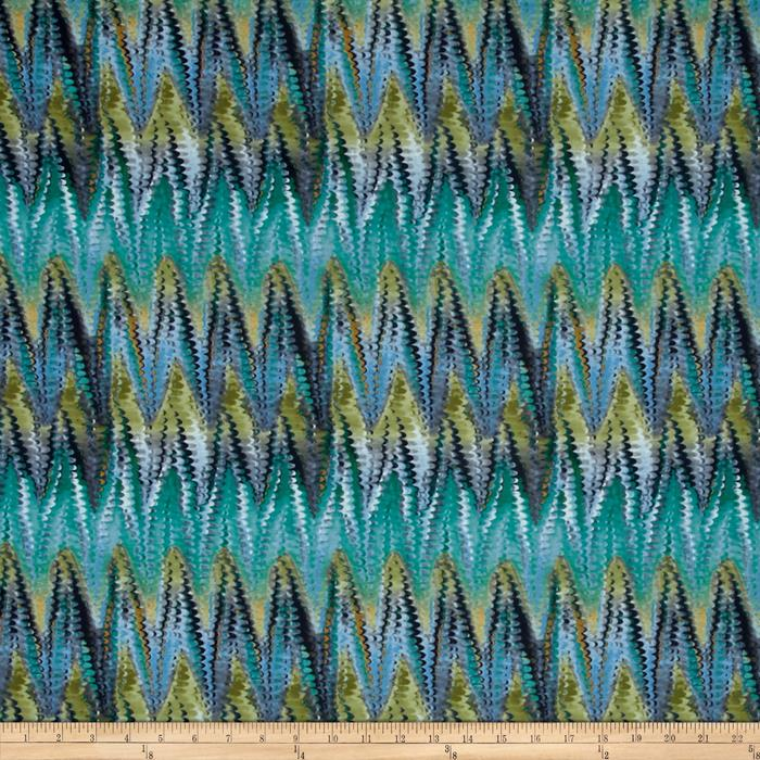 Jersey Knit Abstract Chevron Scale Green