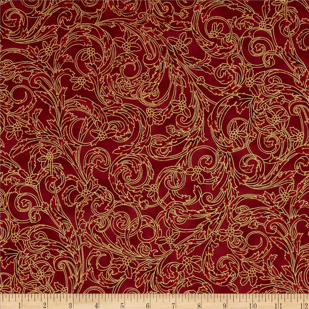 Winter Wishes Leaf Scroll Metallic Scarlet/Gold