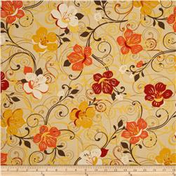 Saffron Ground Large Floral Cream Fabric