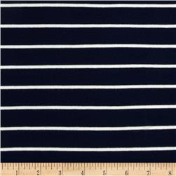 Stretch Bamboo Rayon Mariner Jersey Knit Stripe Navy/Off White
