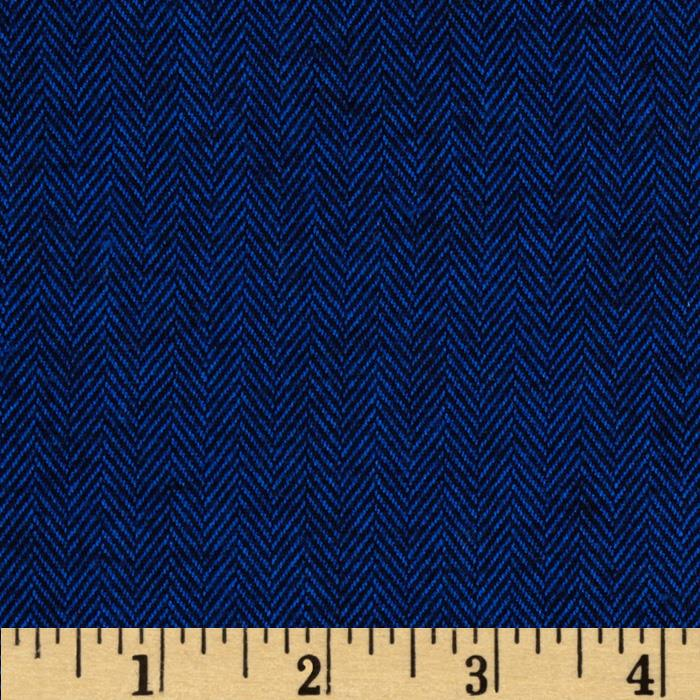 Kaufman Shetland Flannel Herringbone Navy Fabric By The Yard