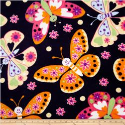 Plush Coral Fleece Tossed Butterflies Navy Fabric