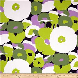 Kaufman Auntie's Attic Mod Flowers Canvas Lime